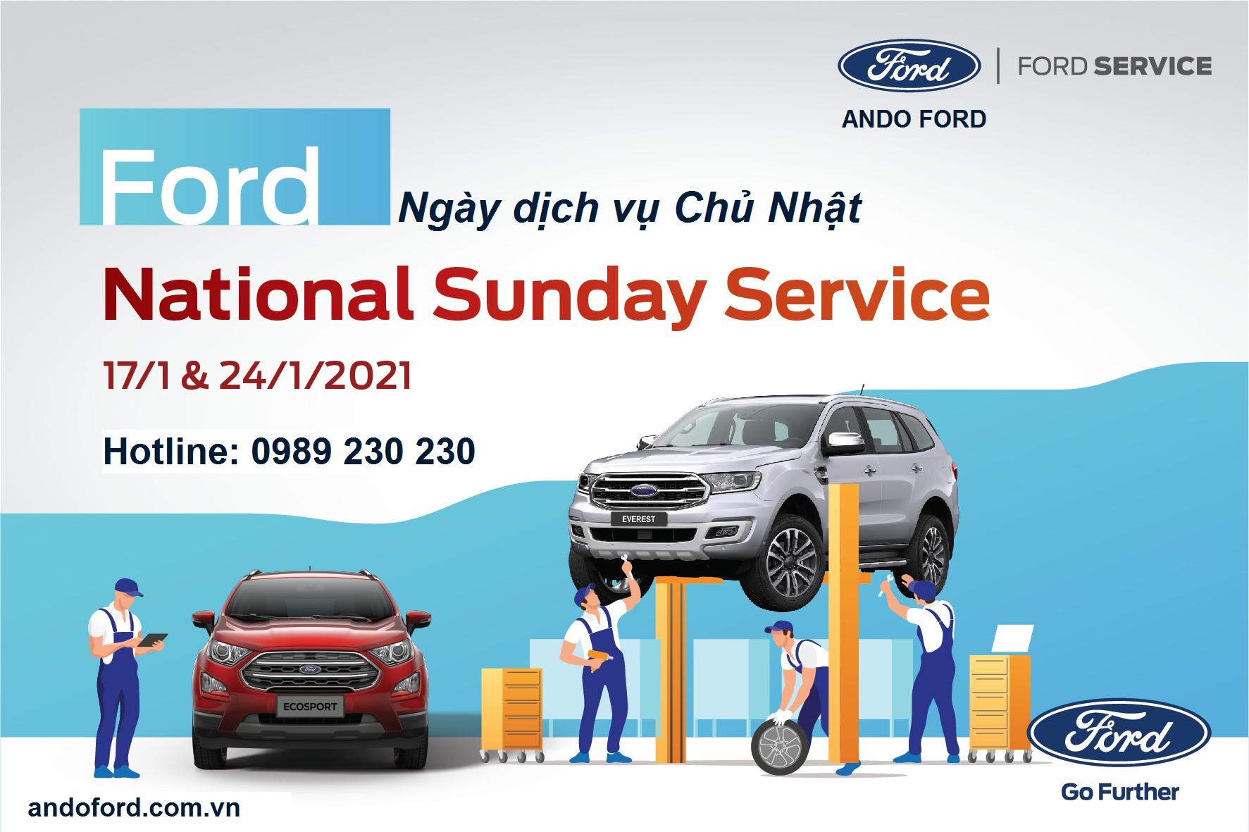 Ando Ford tri ân khách hàng Tết Tân Sửu 02 ngày Dịch vụ Chủ Nhật 17 & 24/01/2021